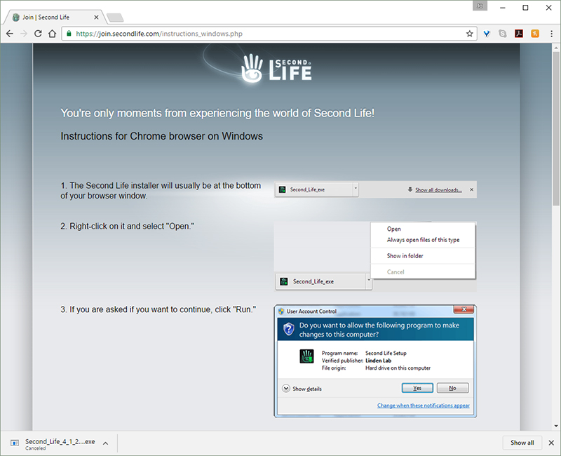 Step 3. Download and install the Second Life client